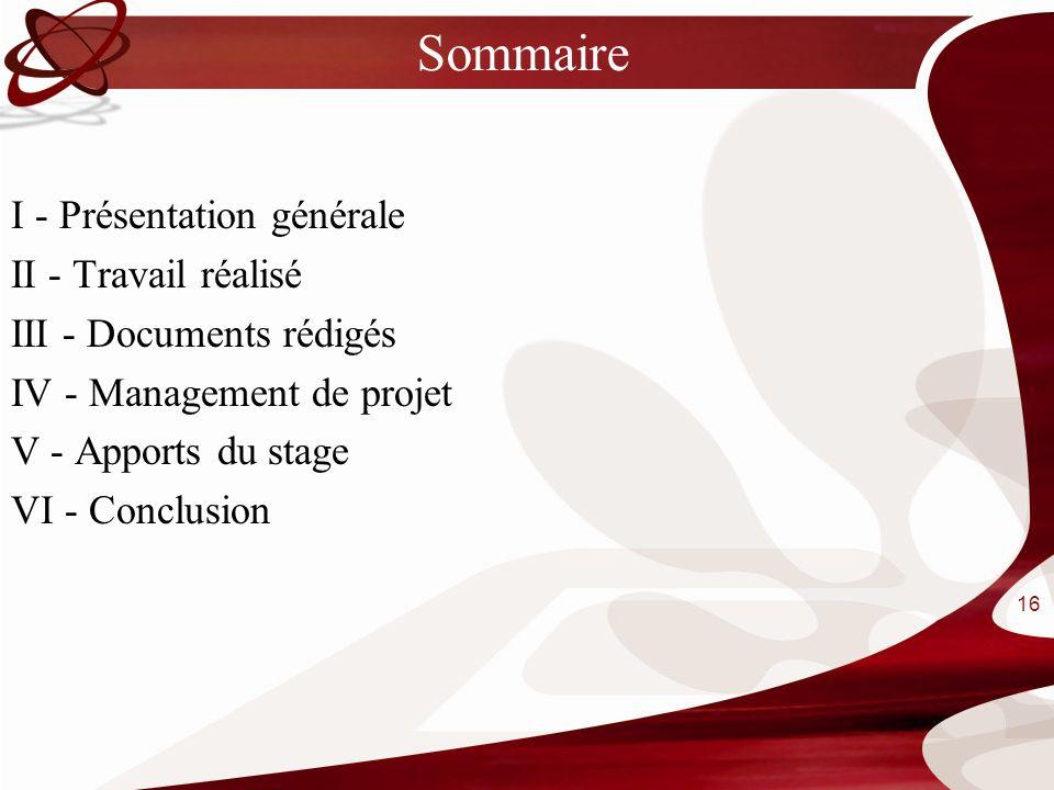 Sommaire I - Présentation générale II - Travail réalisé III - Documents rédigés IV - Management de projet V - Apports du stage VI - Conclusion 16
