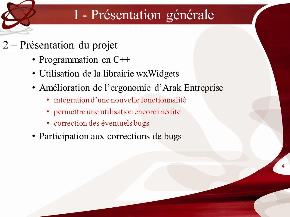 I - Présentation générale 2 – Présentation du projet Programmation en C++ Utilisation de la librairie wxWidgets Amélioration de lergonomie dArak Entre