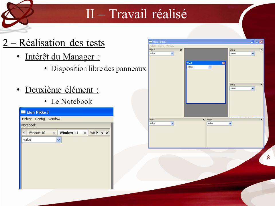 II – Travail réalisé 2 – Réalisation des tests Intérêt du Manager : Disposition libre des panneaux Deuxième élément : Le Notebook 8