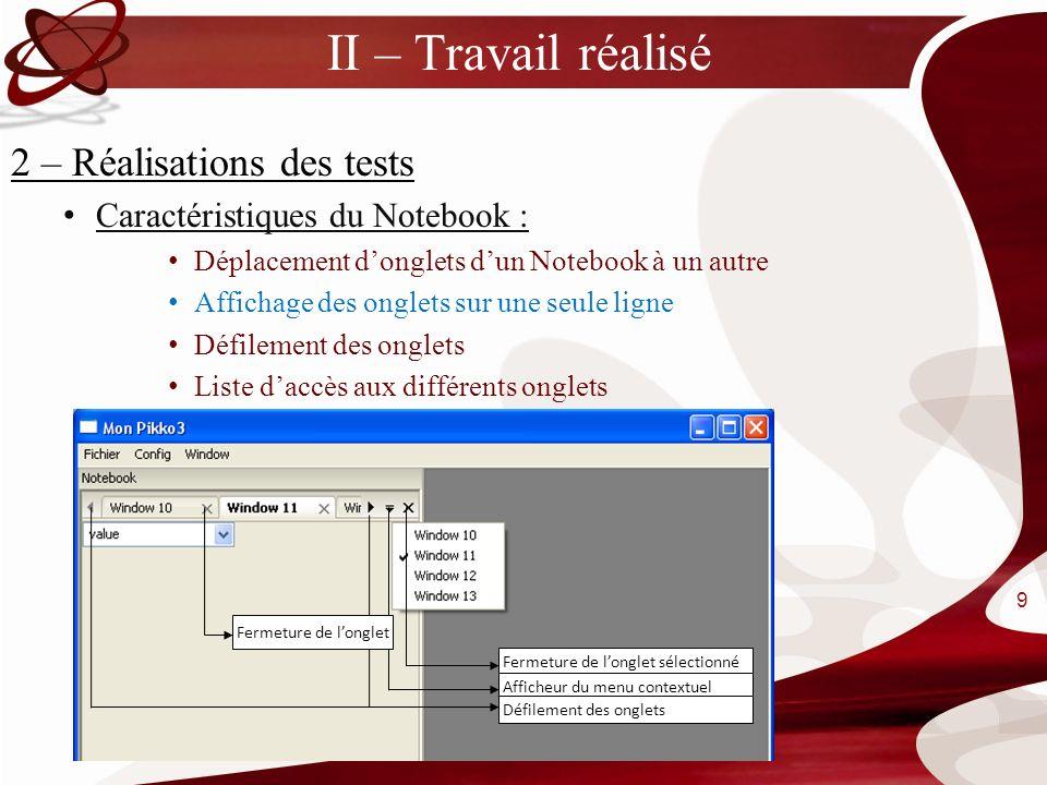 II – Travail réalisé 2 – Réalisations des tests Caractéristiques du Notebook : Déplacement donglets dun Notebook à un autre Affichage des onglets sur