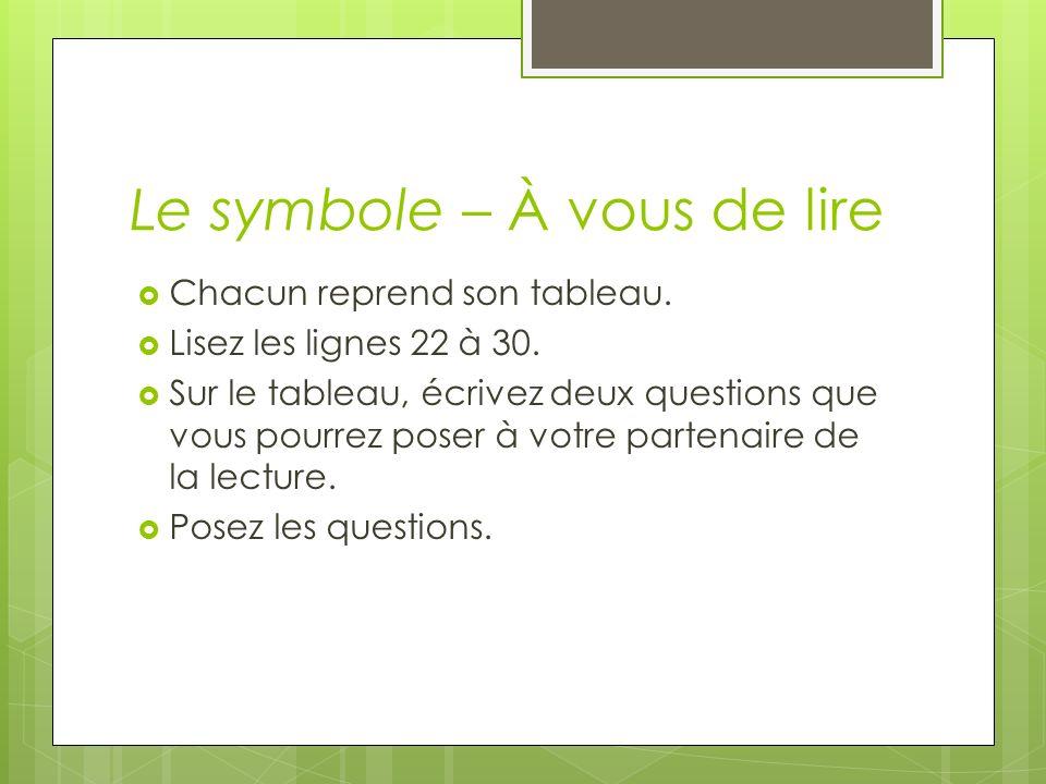 Le symbole – À vous de lire Chacun reprend son tableau. Lisez les lignes 22 à 30. Sur le tableau, écrivez deux questions que vous pourrez poser à votr