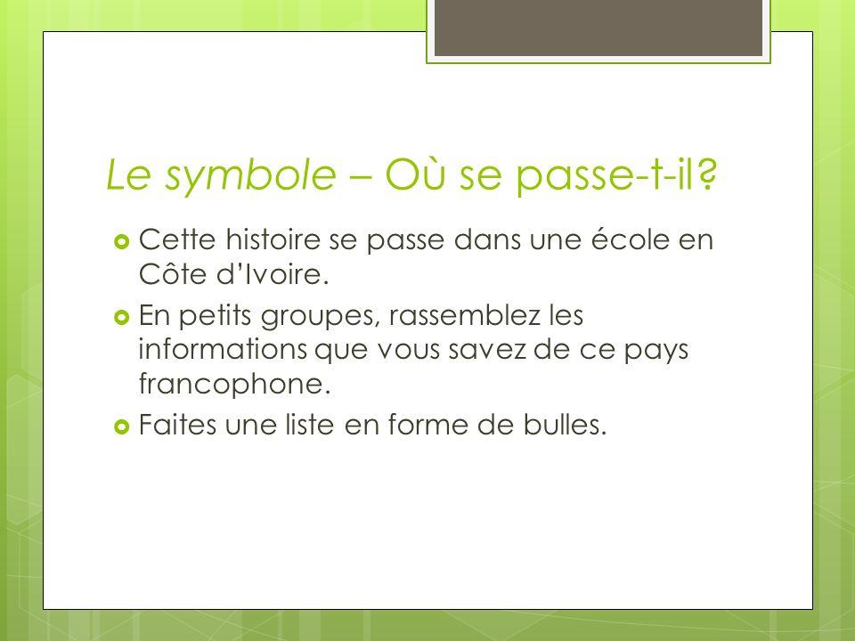 Le symbole – Où se passe-t-il? Cette histoire se passe dans une école en Côte dIvoire. En petits groupes, rassemblez les informations que vous savez d