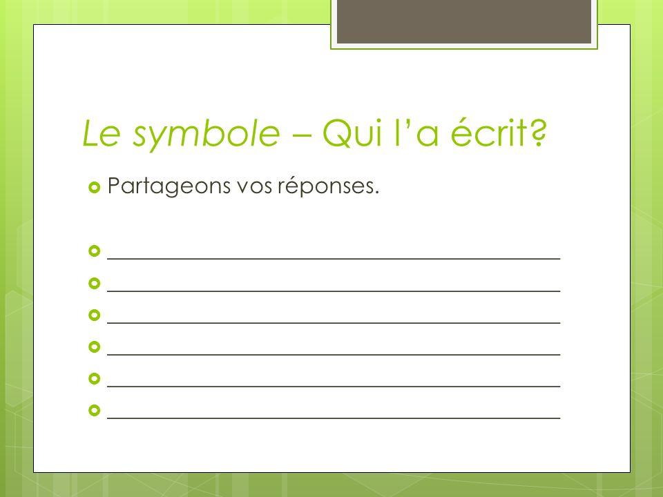 Le symbole – À vous de lire Chacun prend un tableau, un feutre, et une gomme.