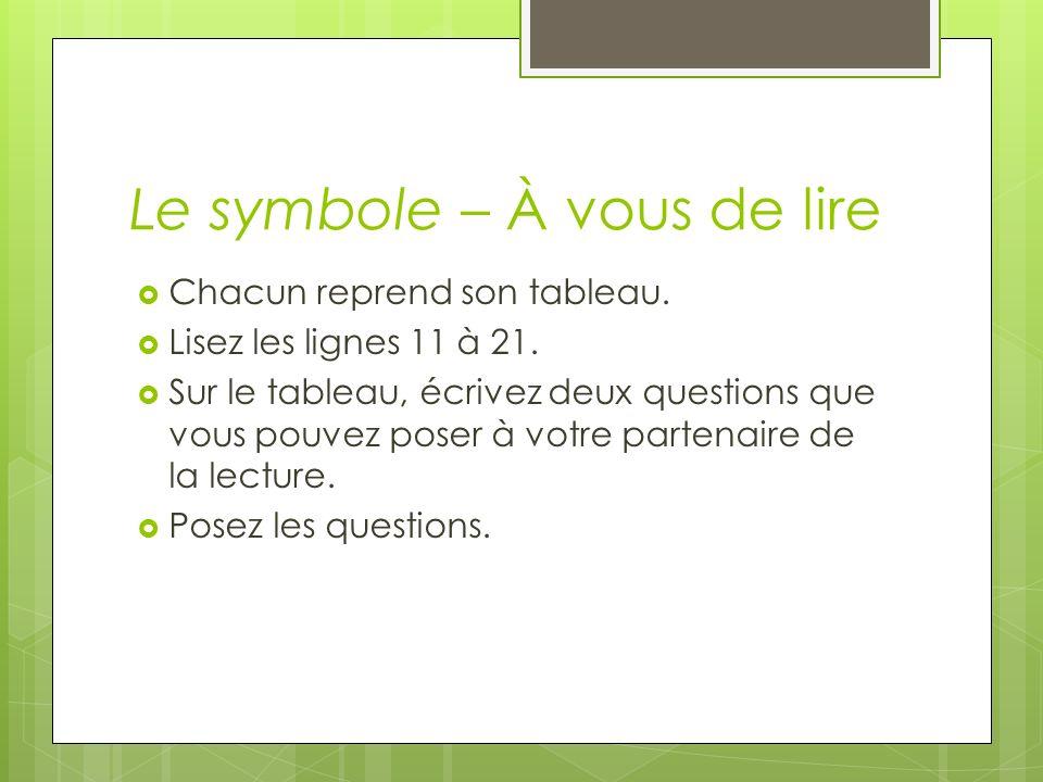 Le symbole – À vous de lire Chacun reprend son tableau. Lisez les lignes 11 à 21. Sur le tableau, écrivez deux questions que vous pouvez poser à votre