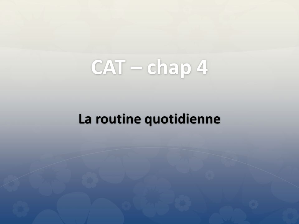 CAT – chap 4 La routine quotidienne
