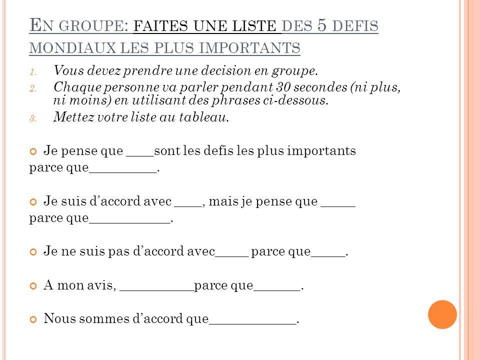 E N GROUPE : FAITES UNE LISTE DES 5 DEFIS MONDIAUX LES PLUS IMPORTANTS 1.