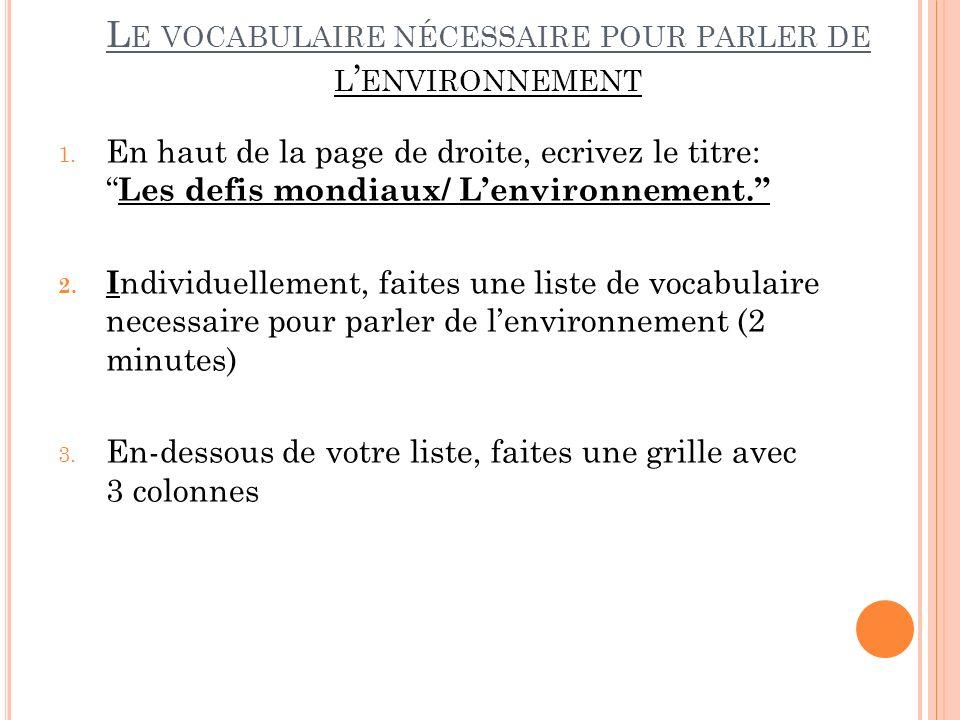 L E VOCABULAIRE NÉCESSAIRE POUR PARLER DE L ENVIRONNEMENT 1.