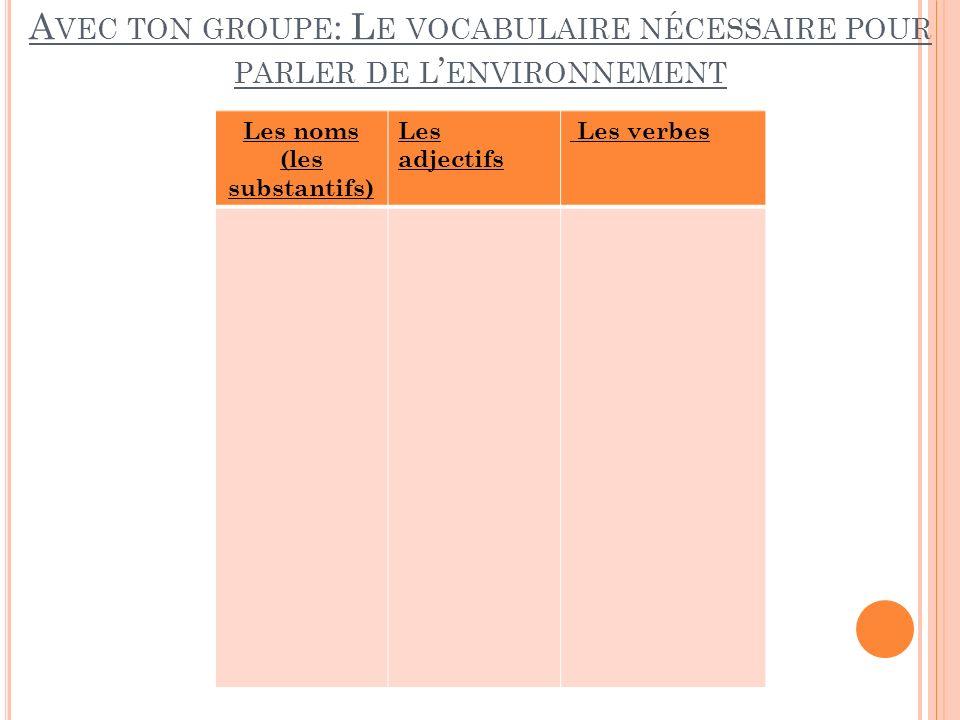 A VEC TON GROUPE : L E VOCABULAIRE NÉCESSAIRE POUR PARLER DE L ENVIRONNEMENT Les noms (les substantifs) Les adjectifs Les verbes