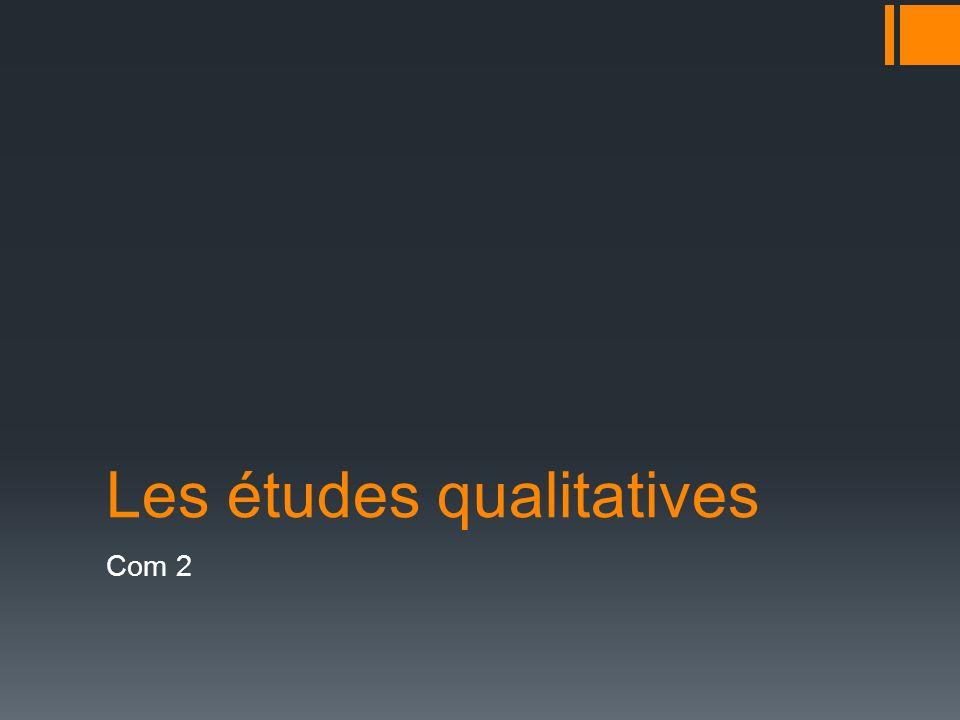 Les études qualitatives Com 2