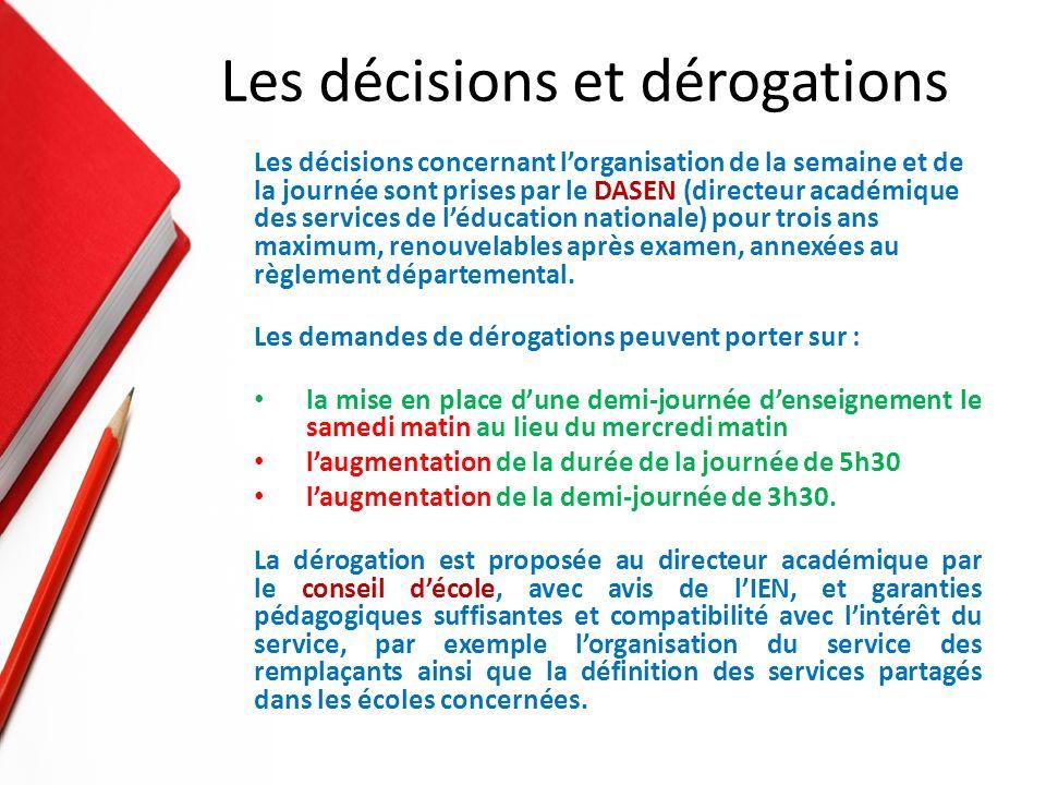 Les décisions concernant lorganisation de la semaine et de la journée sont prises par le DASEN (directeur académique des services de léducation nationale) pour trois ans maximum, renouvelables après examen, annexées au règlement départemental.