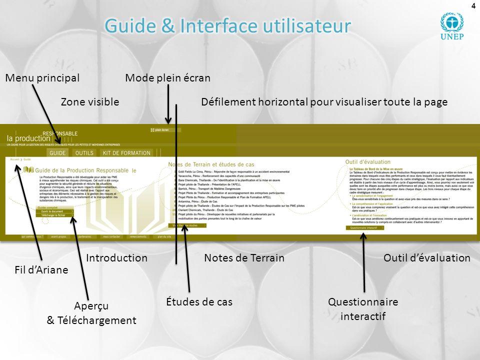 4 Zone visible Introduction Défilement horizontal pour visualiser toute la page Notes de Terrain Questionnaire interactif Menu principalMode plein écr