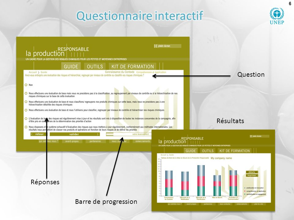 6 Barre de progression Réponses Question Résultats