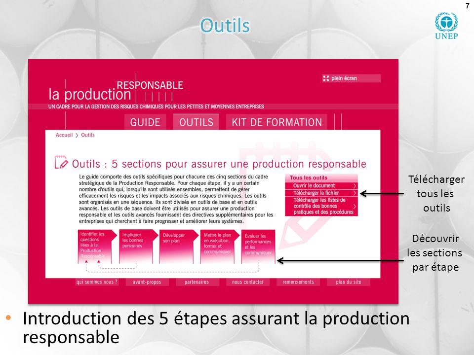 7 Introduction des 5 étapes assurant la production responsable Découvrir les sections par étape Télécharger tous les outils