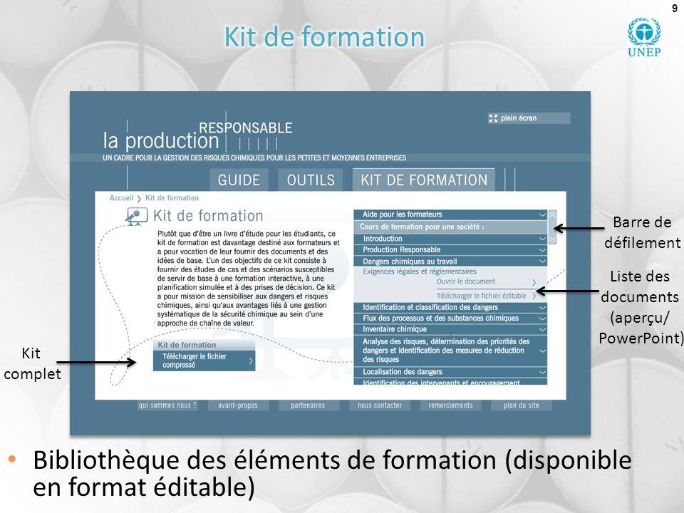 9 Bibliothèque des éléments de formation (disponible en format éditable) Liste des documents (aperçu/ PowerPoint) Kit complet Barre de défilement