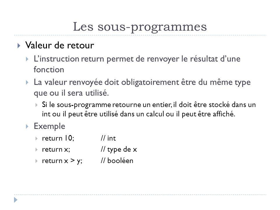 Les sous-programmes Valeur de retour Linstruction return permet de renvoyer le résultat dune fonction La valeur renvoyée doit obligatoirement être du même type que ou il sera utilisé.