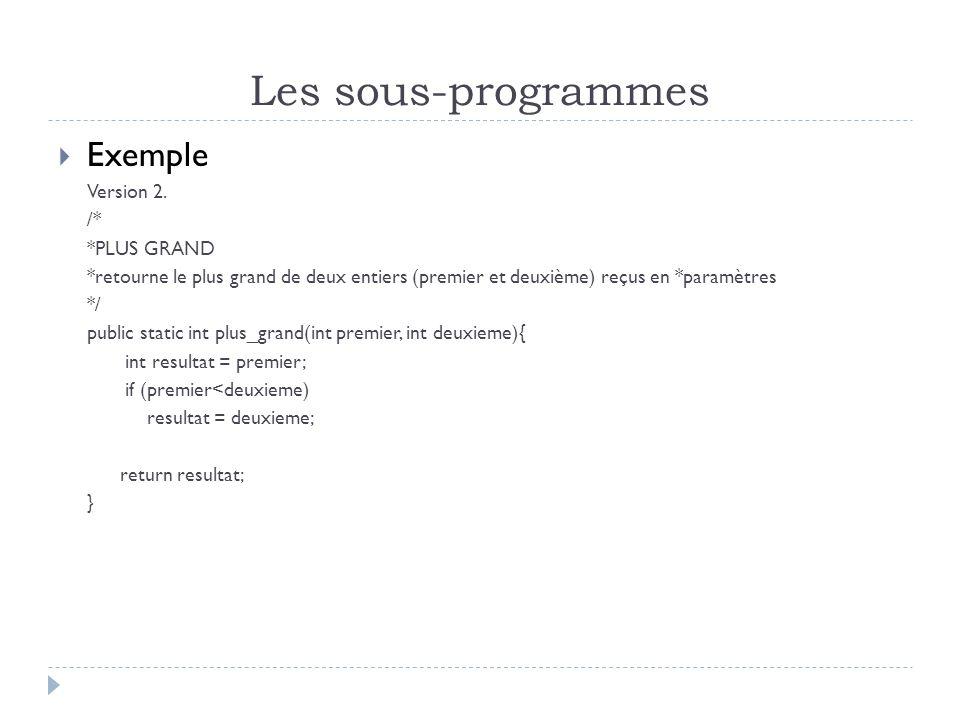 Les sous-programmes Exemple Version 2.
