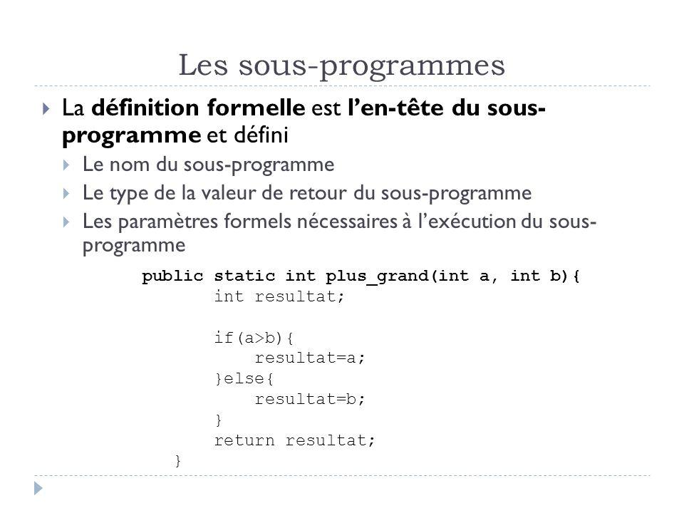 Les sous-programmes La définition formelle est len-tête du sous- programme et défini Le nom du sous-programme Le type de la valeur de retour du sous-programme Les paramètres formels nécessaires à lexécution du sous- programme public static int plus_grand(int a, int b){ int resultat; if(a>b){ resultat=a; }else{ resultat=b; } return resultat; }