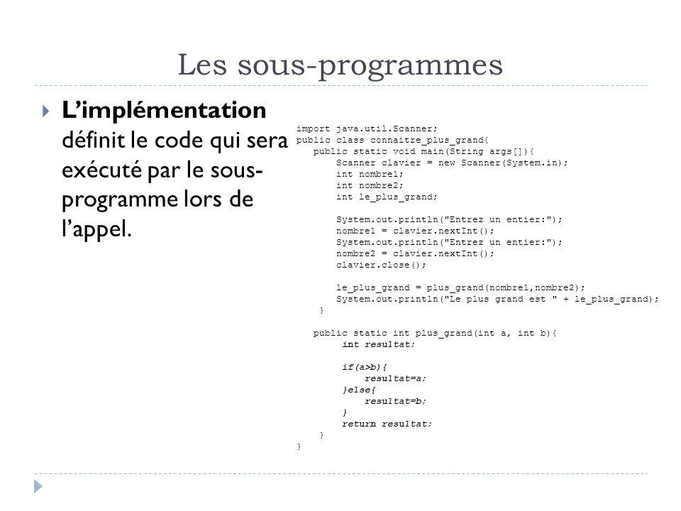 Les sous-programmes Limplémentation définit le code qui sera exécuté par le sous- programme lors de lappel.