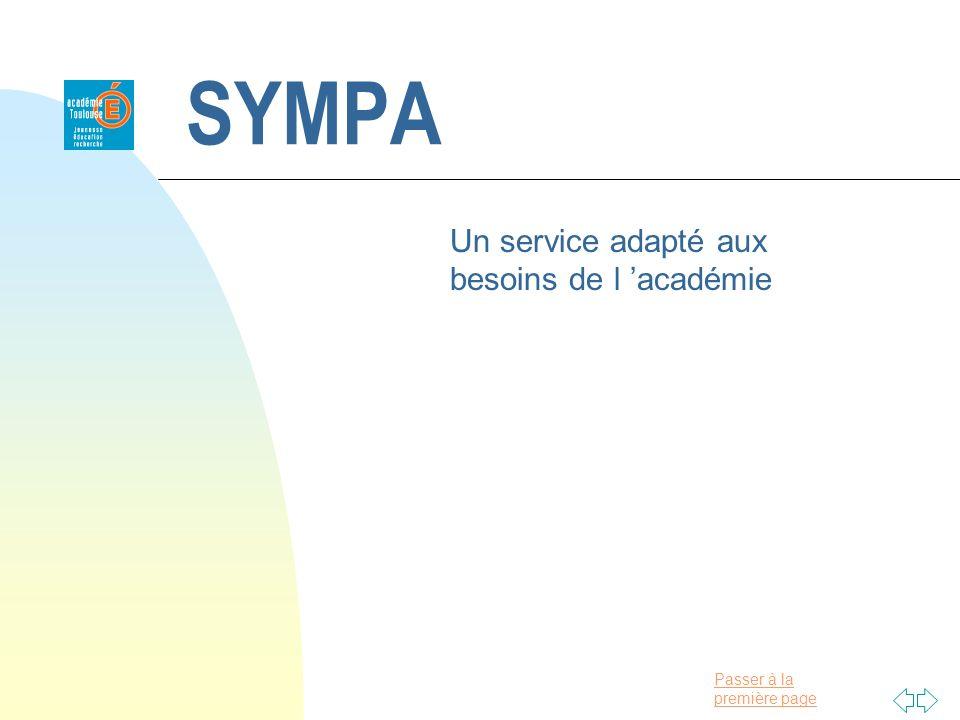 Passer à la première page SYMPA Un service adapté aux besoins de l académie