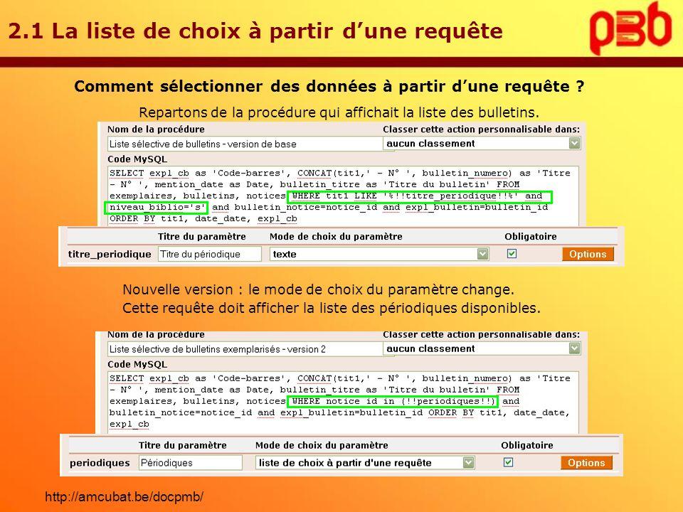 2.1 La liste de choix à partir dune requête Comment sélectionner des données à partir dune requête ? Repartons de la procédure qui affichait la liste