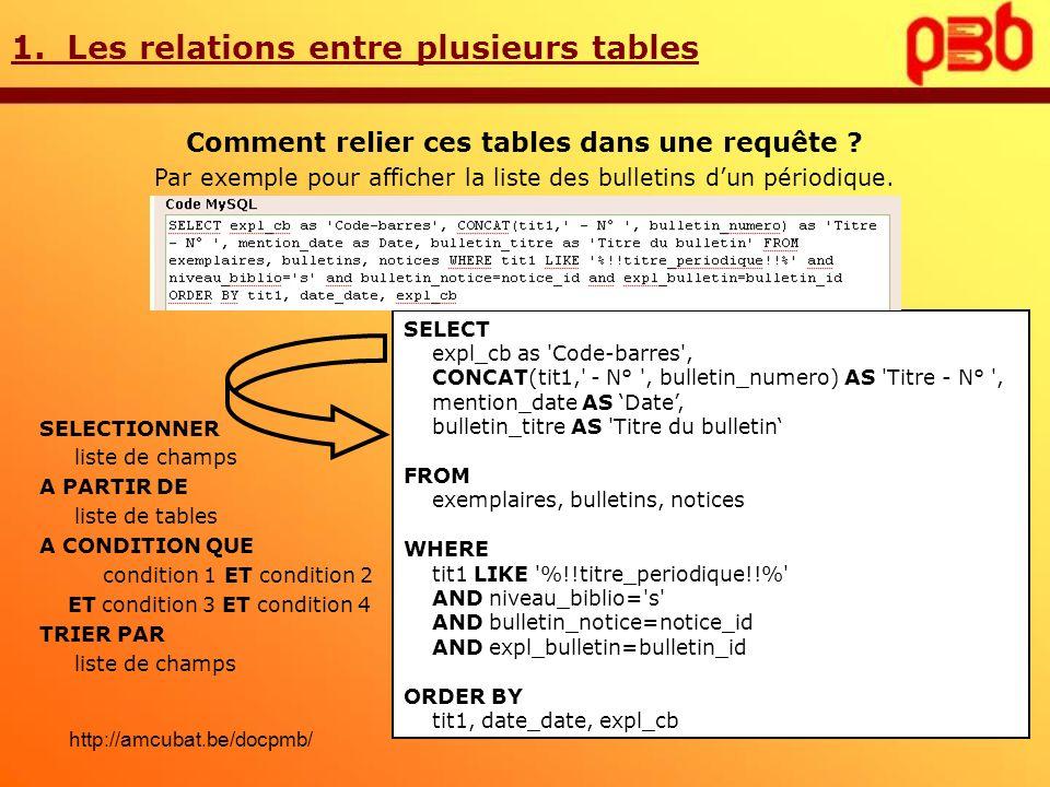 1. Les relations entre plusieurs tables Comment relier ces tables dans une requête ? Par exemple pour afficher la liste des bulletins dun périodique.