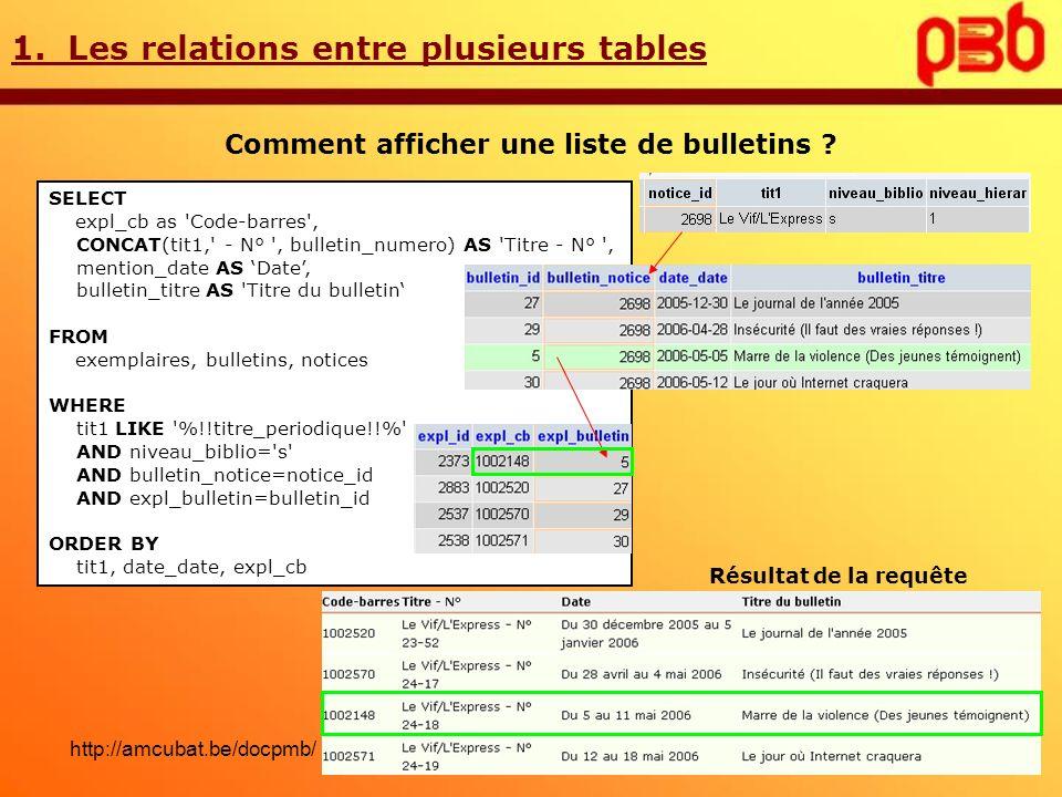 1. Les relations entre plusieurs tables Comment afficher une liste de bulletins ? SELECT expl_cb as 'Code-barres', CONCAT(tit1,' - N° ', bulletin_nume