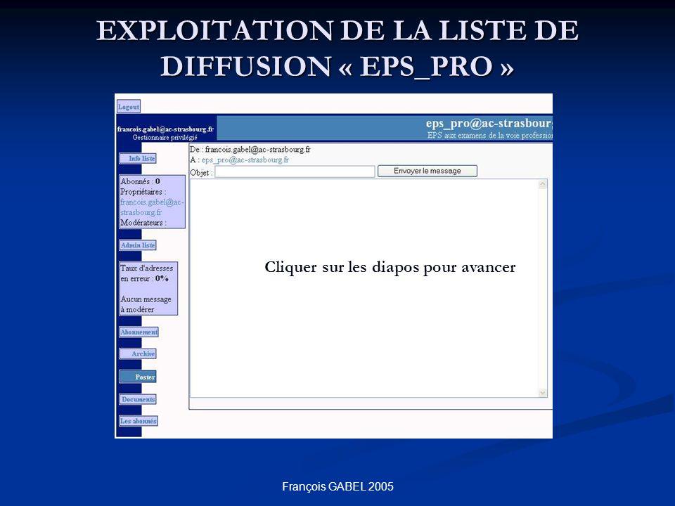 François GABEL 2005 EXPLOITATION DE LA LISTE DE DIFFUSION « EPS_PRO » Cliquer sur les diapos pour avancer