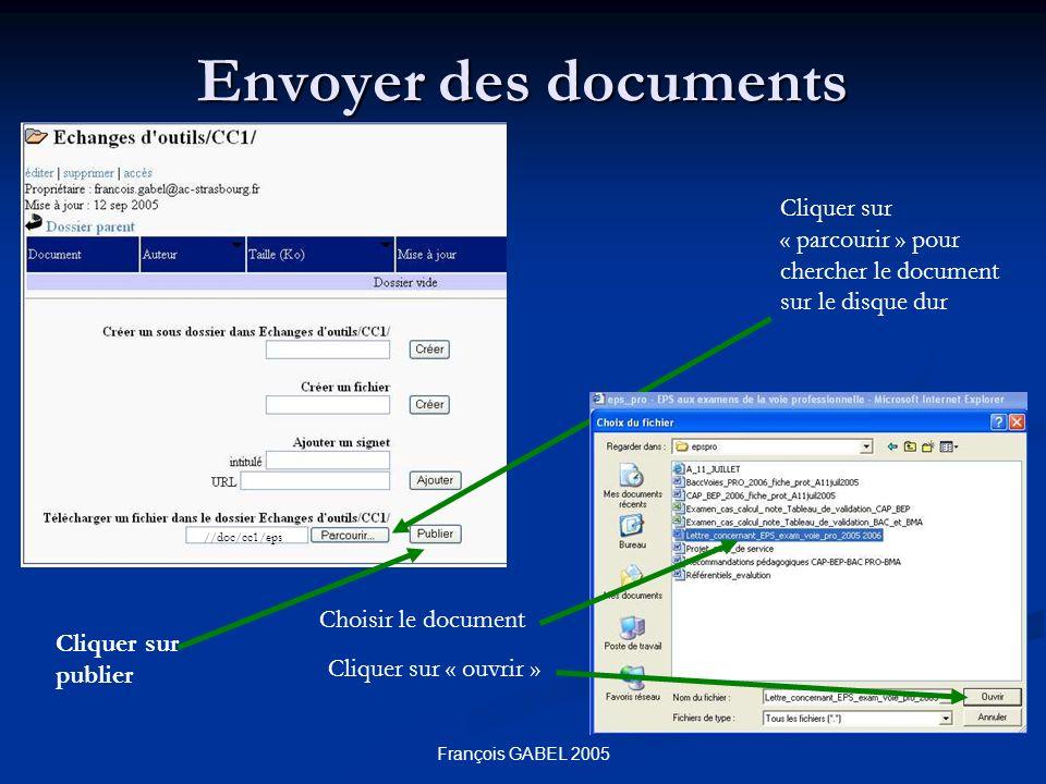 François GABEL 2005 Envoyer des documents Cliquer sur « parcourir » pour chercher le document sur le disque dur Choisir le document Cliquer sur « ouvrir » //doc/cc1/eps Cliquer sur publier