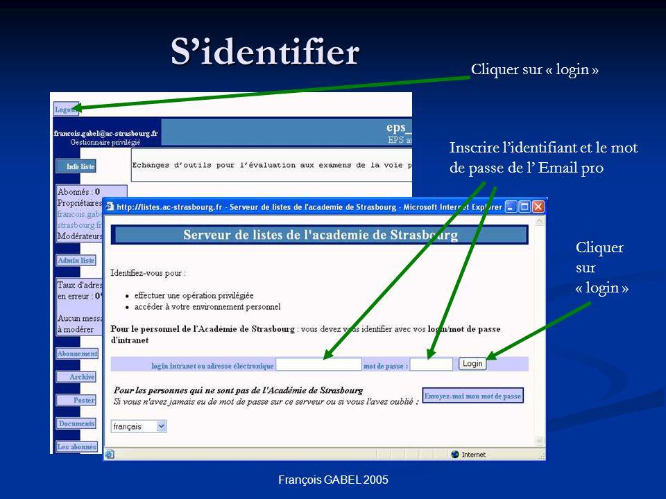 François GABEL 2005 Sidentifier Cliquer sur « login » Inscrire lidentifiant et le mot de passe de l Email pro Cliquer sur « login »