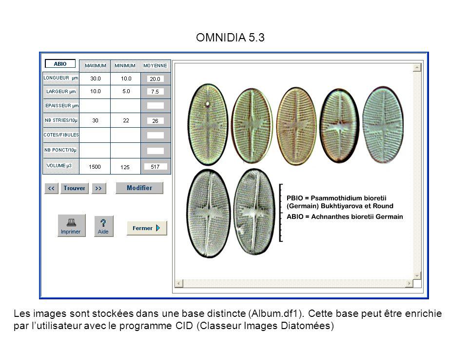 Les images sont stockées dans une base distincte (Album.df1). Cette base peut être enrichie par lutilisateur avec le programme CID (Classeur Images Di