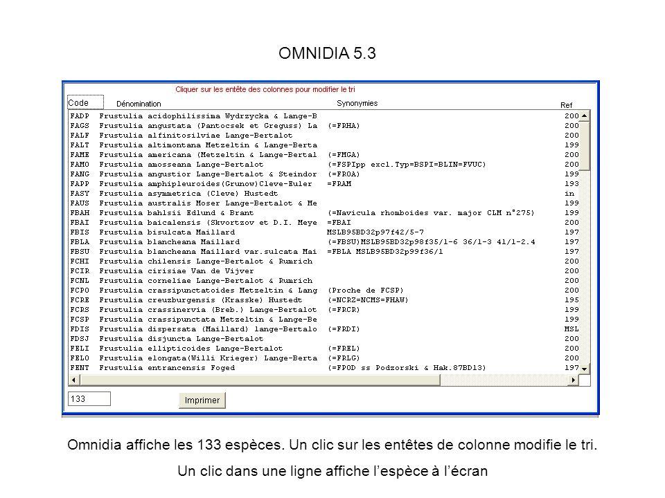 OMNIDIA 5.3 Omnidia affiche les 133 espèces. Un clic sur les entêtes de colonne modifie le tri. Un clic dans une ligne affiche lespèce à lécran