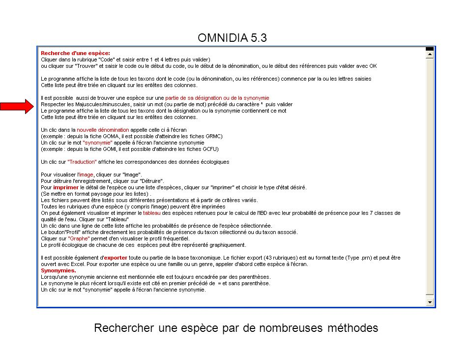 OMNIDIA 5.3 Rechercher une espèce par de nombreuses méthodes
