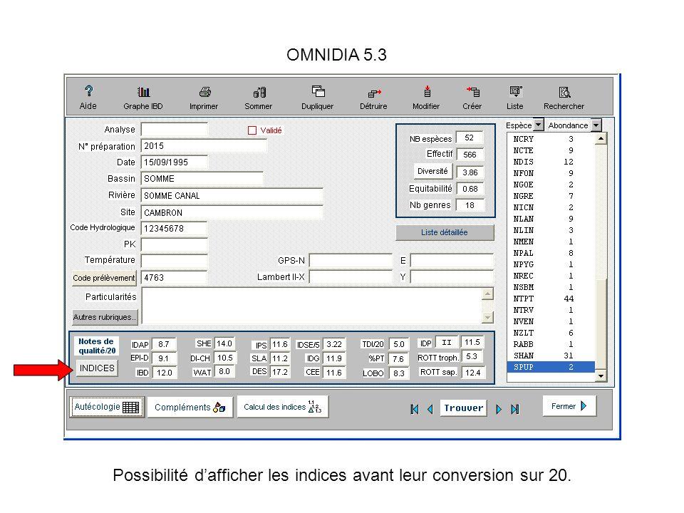 OMNIDIA 5.3 Possibilité dafficher les indices avant leur conversion sur 20.