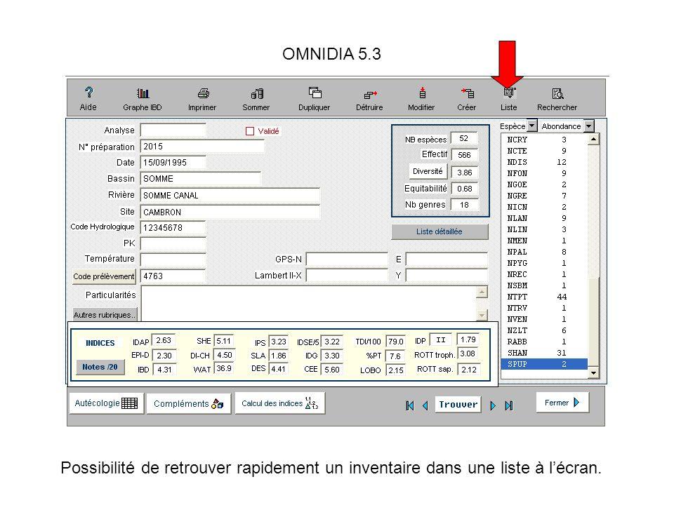 OMNIDIA 5.3 Possibilité de retrouver rapidement un inventaire dans une liste à lécran.