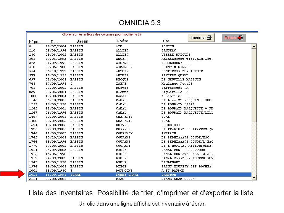 OMNIDIA 5.3 Liste des inventaires. Possibilité de trier, dimprimer et dexporter la liste. Un clic dans une ligne affiche cet inventaire à écran