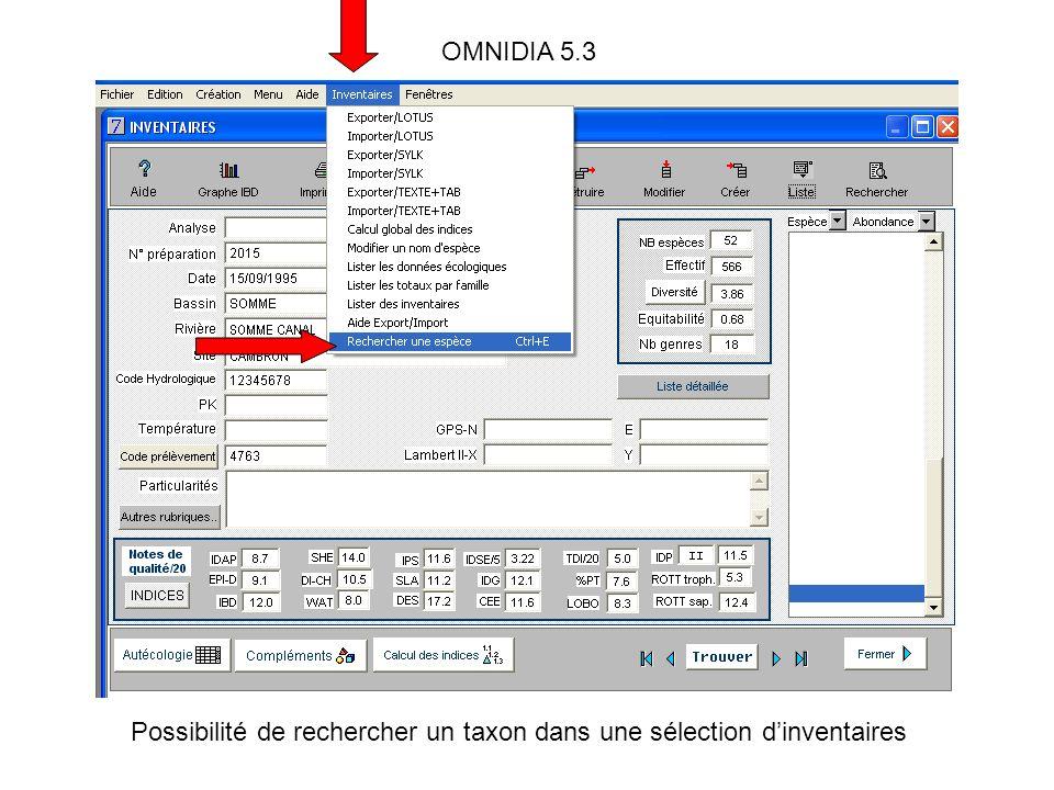 OMNIDIA 5.3 Possibilité de rechercher un taxon dans une sélection dinventaires