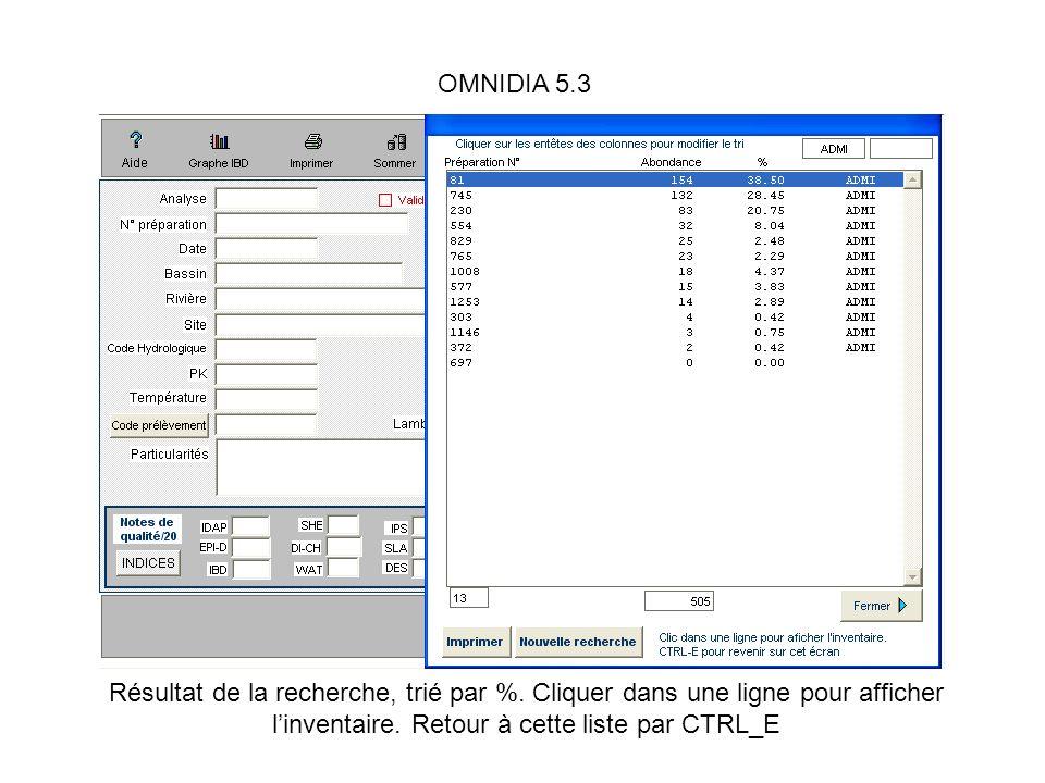 OMNIDIA 5.3 Résultat de la recherche, trié par %. Cliquer dans une ligne pour afficher linventaire. Retour à cette liste par CTRL_E