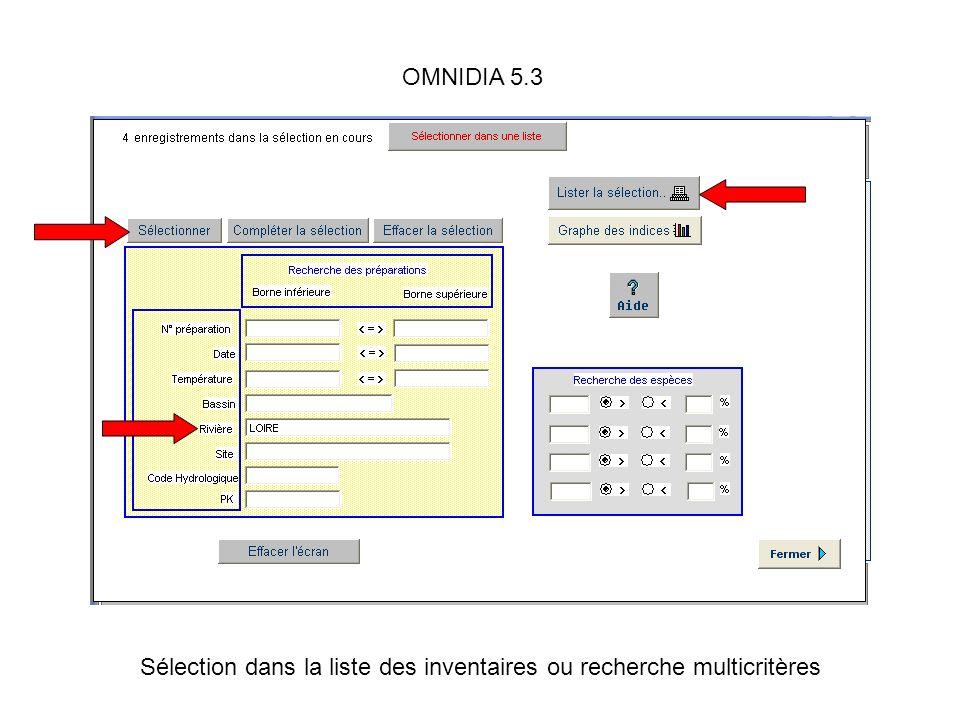 Sélection dans la liste des inventaires ou recherche multicritères