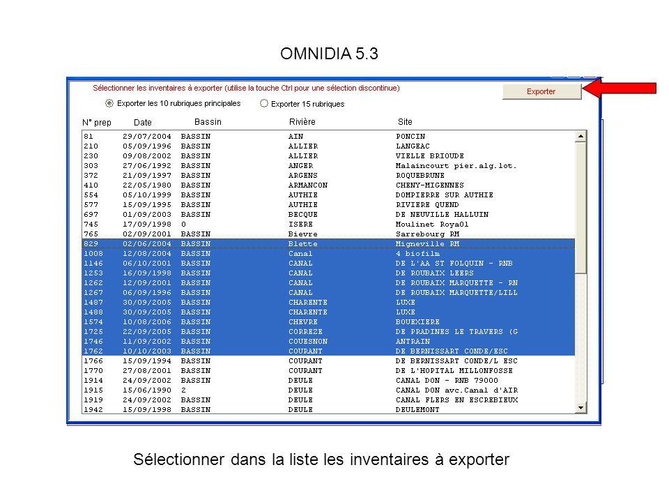 OMNIDIA 5.3 Sélectionner dans la liste les inventaires à exporter