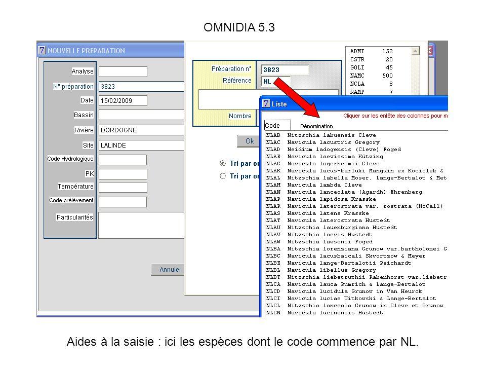 OMNIDIA 5.3 Aides à la saisie : ici les espèces dont le code commence par NL.