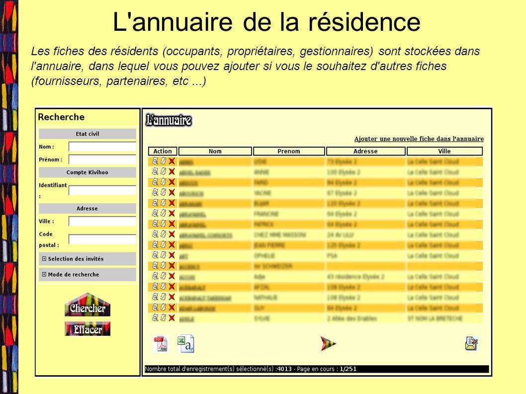 L annuaire de la résidence Les fiches des résidents (occupants, propriétaires, gestionnaires) sont stockées dans l annuaire, dans lequel vous pouvez ajouter si vous le souhaitez d autres fiches (fournisseurs, partenaires, etc...)