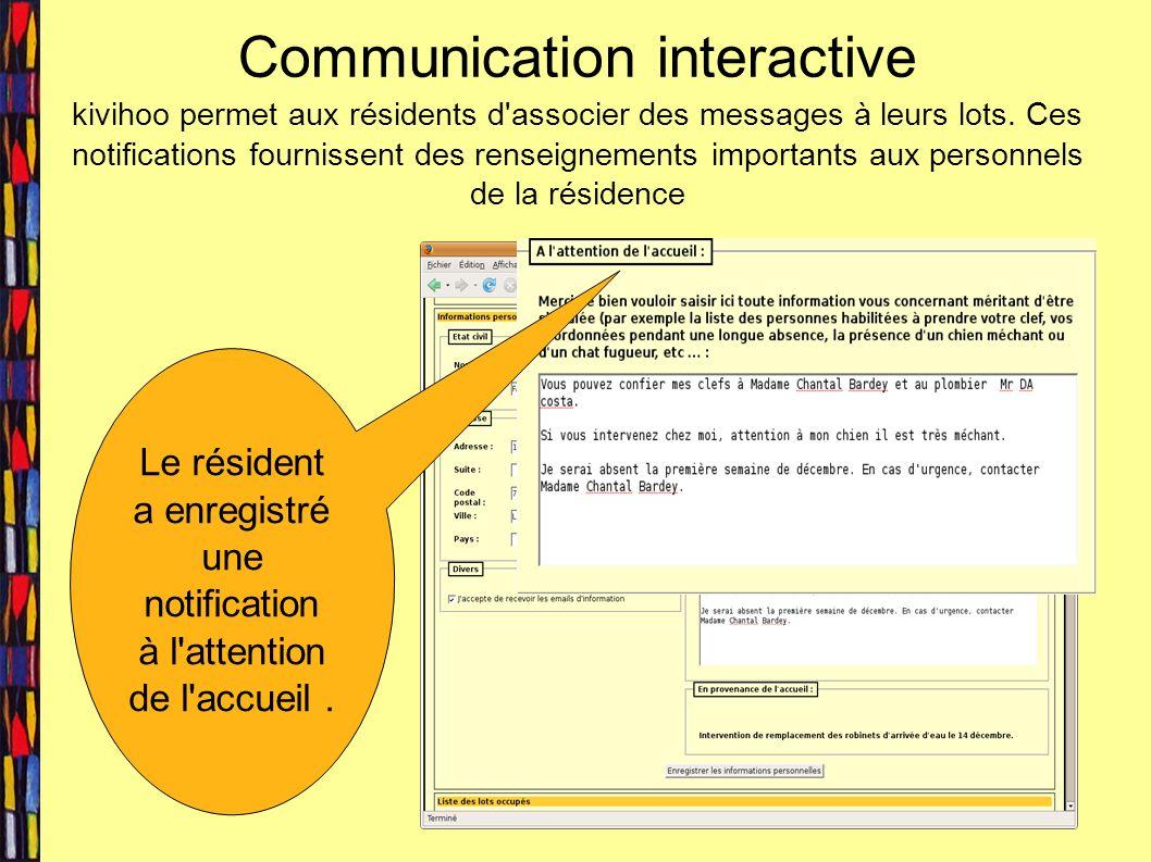 Communication interactive kivihoo permet aux résidents d associer des messages à leurs lots.