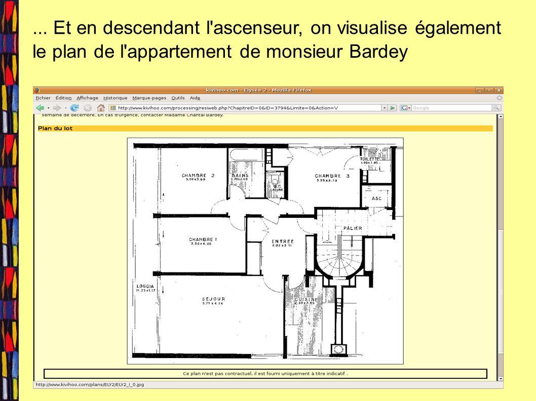 ... Et en descendant l'ascenseur, on visualise également le plan de l'appartement de monsieur Bardey
