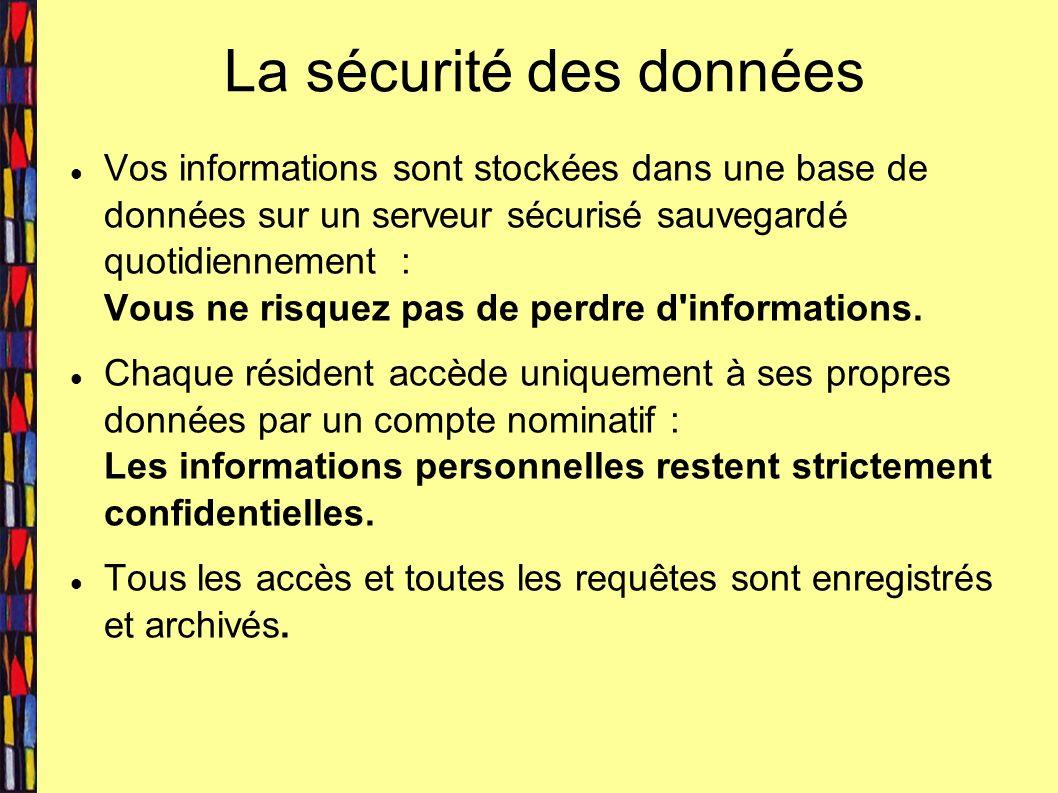 La sécurité des données Vos informations sont stockées dans une base de données sur un serveur sécurisé sauvegardé quotidiennement : Vous ne risquez pas de perdre d informations.