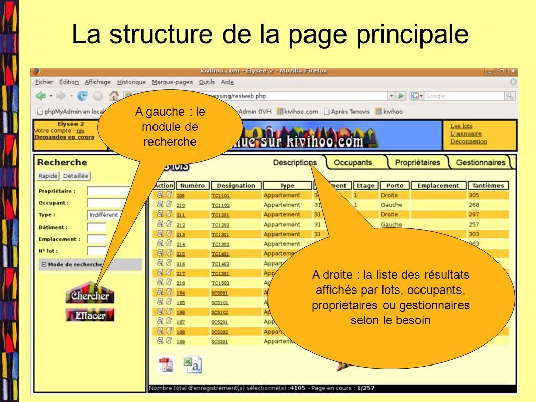 La structure de la page principale A gauche : le module de recherche A droite : la liste des résultats affichés par lots, occupants, propriétaires ou gestionnaires selon le besoin