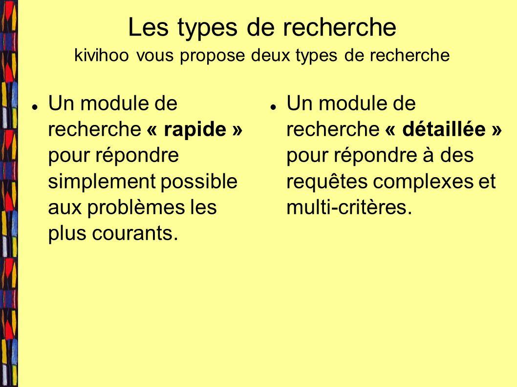 Les types de recherche kivihoo vous propose deux types de recherche Un module de recherche « rapide » pour répondre simplement possible aux problèmes les plus courants.