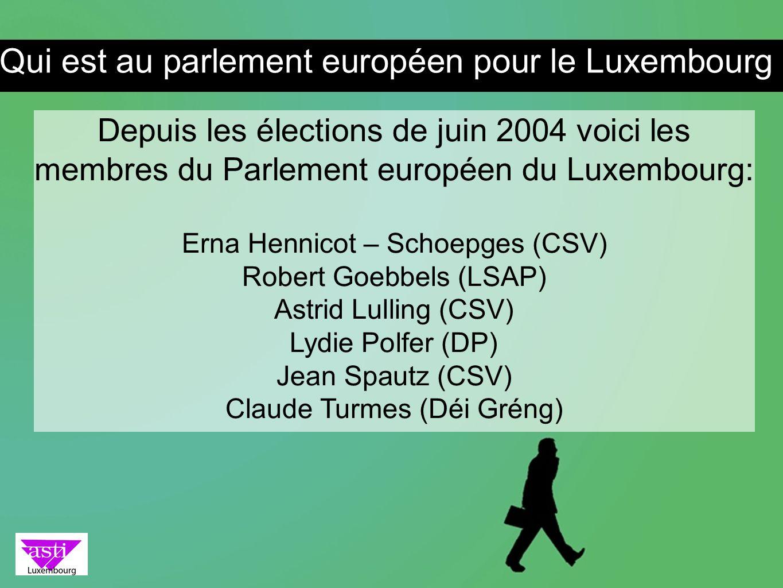 Depuis les élections de juin 2004 voici les membres du Parlement européen du Luxembourg: Erna Hennicot – Schoepges (CSV) Robert Goebbels (LSAP) Astrid