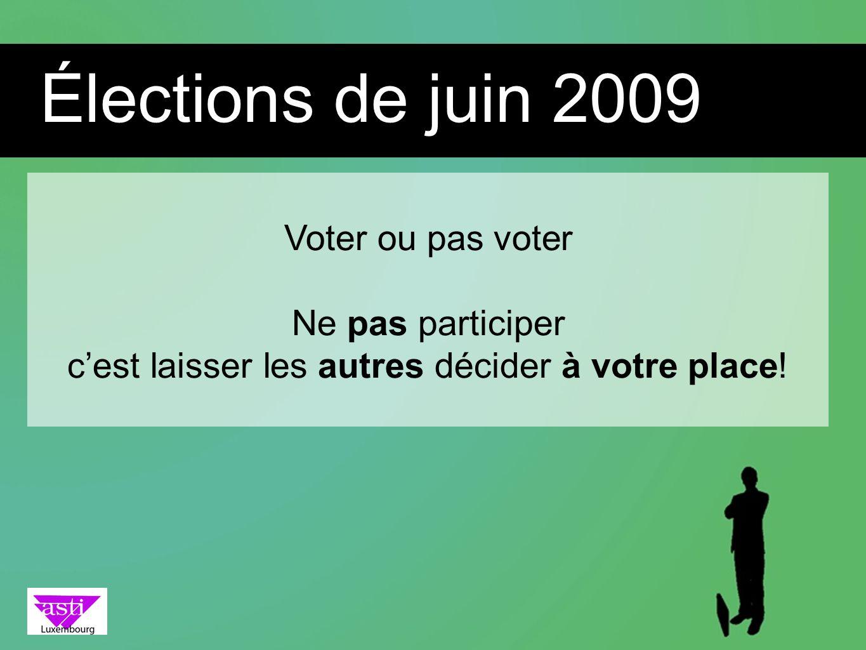 Voter ou pas voter Ne pas participer cest laisser les autres décider à votre place! Élections de juin 2009