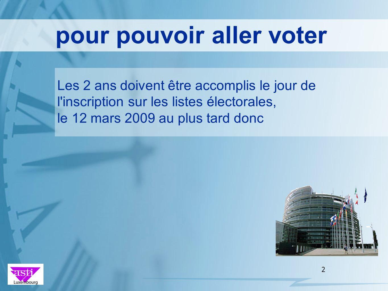 2 Les 2 ans doivent être accomplis le jour de l'inscription sur les listes électorales, le 12 mars 2009 au plus tard donc pour pouvoir aller voter