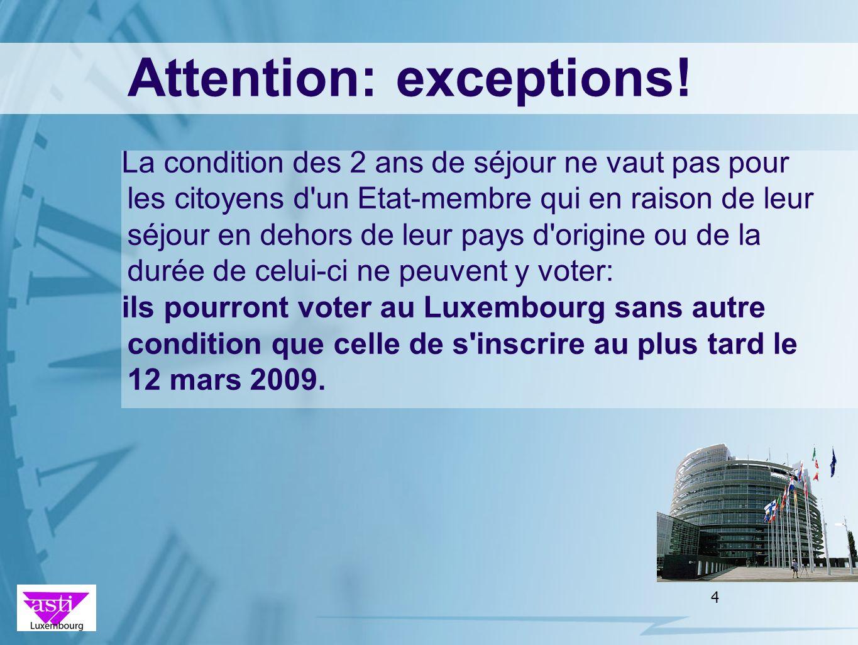 4 Attention: exceptions! La condition des 2 ans de séjour ne vaut pas pour les citoyens d'un Etat-membre qui en raison de leur séjour en dehors de leu
